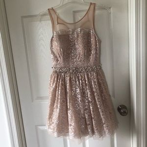 City Studio pink blush lace dress 7